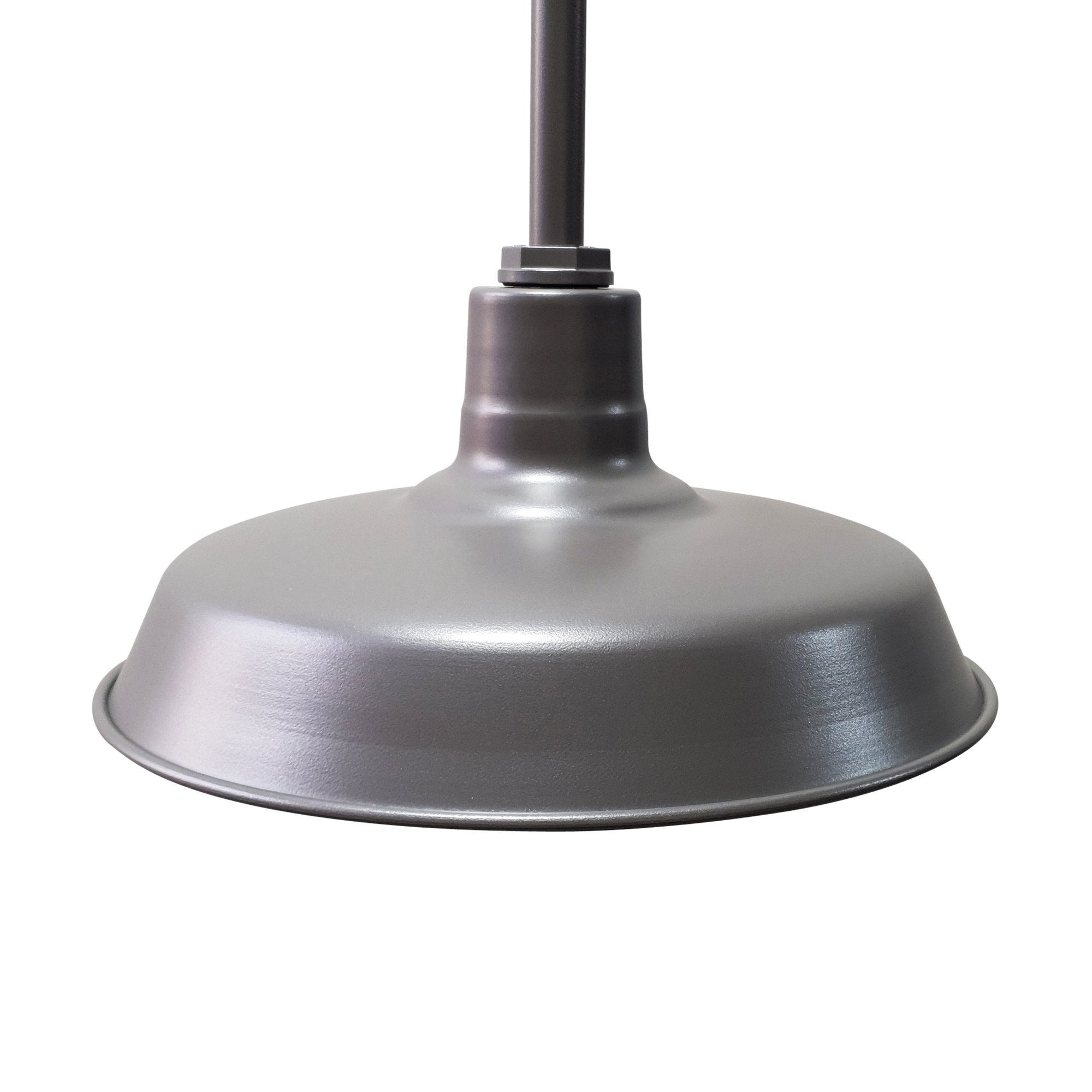 Silver Barn Light with Stem Mounted Assembly.