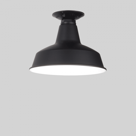 Black Flush Mounted Warehouse Shade in Black Ace