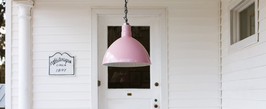 Deep Bowl Pink Chain Hung Lighting with White Farmhouse Background