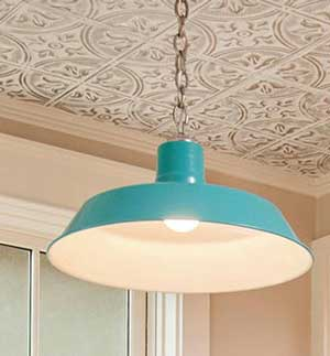 Teal Chain Hung Pendant in Teal w/ French Provincial Ceiling Tiles
