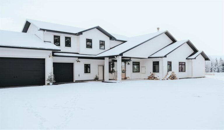 Snow Covered American Farm House in Winter