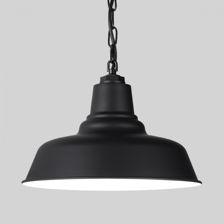 Black Warehouse Farmhouse Pendant with Black Chain on Grey Background
