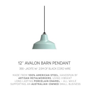 Our Avalon Jadite Barn Pendant w/ Standard Black Cor.