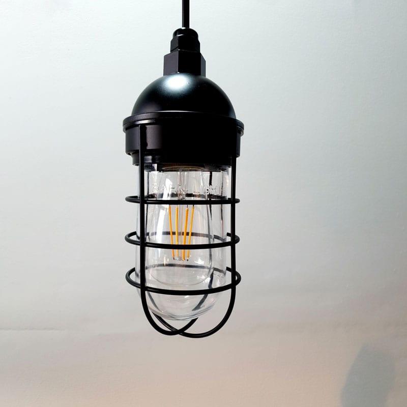 Atomic Industrial Barn Pendant in Electro Black Ace w/ Nautical Wire Guard & Clear Glass