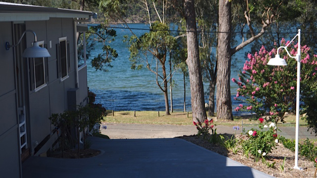 Our Bomber Gooseneck Barn Light overlooking Lake Conjola in NSW.