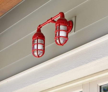Dual Atomic Wall Sconce in 400-Flame Red | Thick Cast Guard & Clear Glass