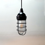 Atomic Industrial Barn Pendant in Electro Black Ace w/ Nautical Wire Guard & Prismatic Glass