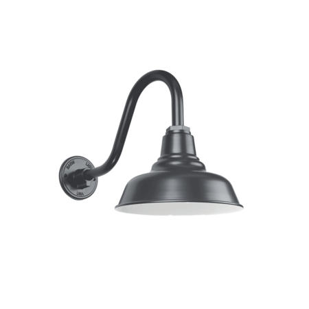 25cm Universal Gooseneck Barn Light in Colorbond Monument Matt w/ SG16 Sconce Arm | This petite shade has been designed to provide the best of both worlds - Curves & Warehouse Styling for your home and abode.