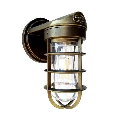 Static Industrial Wall Sconce in Tiberius Flat w/ Standard Cast Guard & Clear Glass