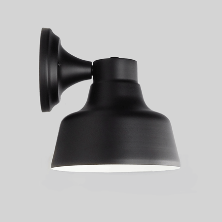 The Bowie Wall Sconce in Electro Black Ace | Our Bowie petite warehouse shade is 20cm in diameter with a small backing plate.