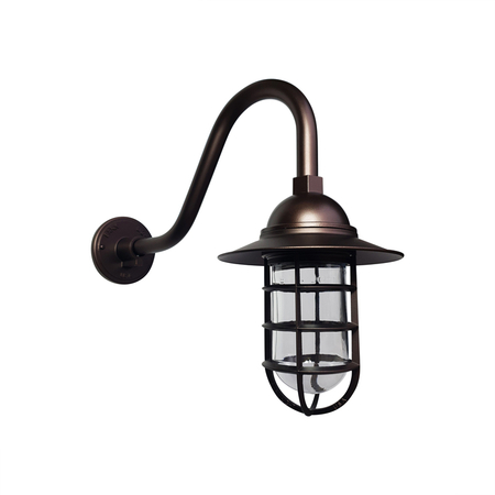 Atomic Flared Gooseneck Barn Light in Burnished Copper. Standard Cast Guard & Clear Glass