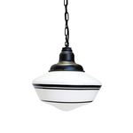 35cm Schoolhouse Industrial Chain Hung Pendant in Black Ace w/ Black Triple Banded Stripes
