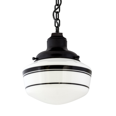 25cm Schoolhouse Industrial Chain Hung Pendant in Black Ace w/ Black Triple Banded Stripes