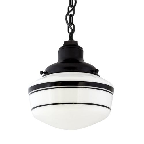 25cm Schoolhouse Industrial Chain Hung Pendant in Black Ace w/ Black Triple Banded Stripes | 25cm Opaque Glass w/ [TRP] Black Triple Banded Stripes