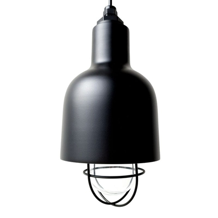 The Cafe Barn Pendant in Electro Black Ace w/ Nautical Wire Guard & Clear Glass