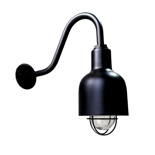 The Cafe Gooseneck Barn Light in Electro Black Ace. SG16 Sconce Gooseneck Arm w/ Nautical Wire Guard & Clear Glass