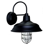 33cm Old Dixie Wall Sconce in Electro Black Ace w/ Nautical Wire Guard & Clear Glass