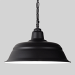 Large Black Chain Hung Pendant on Grey Background with White Internal