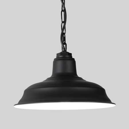 Black Chain Pendant on Grey Background with White Internal