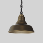 Brassy Golden Coloured Industrial Pendant with Black Chain on Grey Background