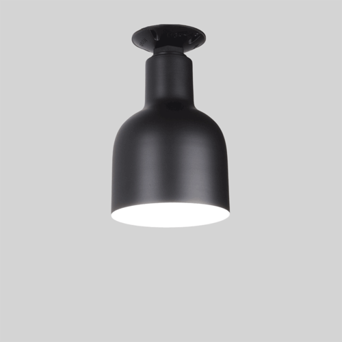 Flush Mounted Warehouse Shade in Black Ace