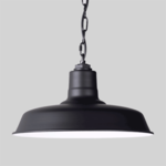 Black Pendant Light on Grey Background