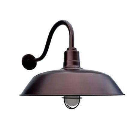 50cm Original Gooseneck Barn Light in Electro Burnished Copper w/ G22 Gooseneck Arm - Nautical Wire Guard & Frosted Glass