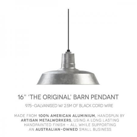"16"" Original Barn Pendant in 975-Galvanised"