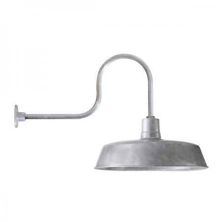 Large 60cm Shade w/ G6 Gooseneck Style Arm in Galvanised Finish