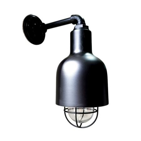 The Cafe Wall Sconce in Electro Black Ace w/ Nautical Wire Guard & Clear Glass