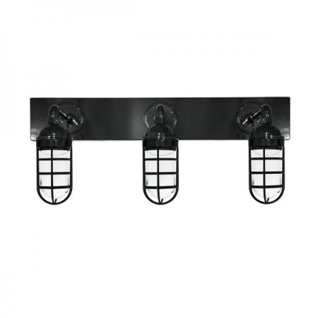 The Triple Atomic Industrial Vanity Light in PC100-Black Matt w/ [A3]-Straight Arms