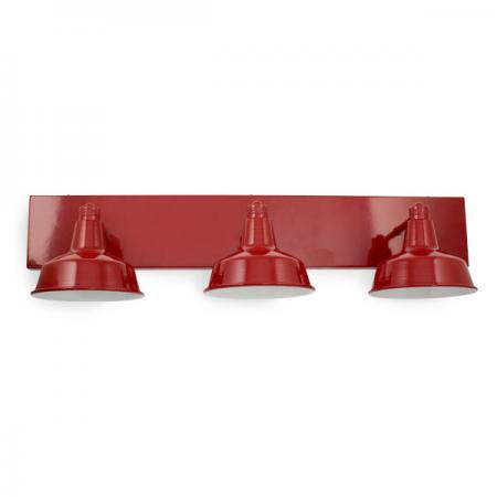 Austin Triple Vanity Straight Arm Wall Sconce in PC400-Flame Red